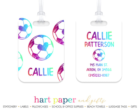Rainbow Soccer Ball Luggage Bag Tag School & Office Supplies - Everything Nice