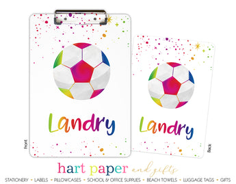 Rainbow Soccer Ball Personalized Clipboard School & Office Supplies - Everything Nice