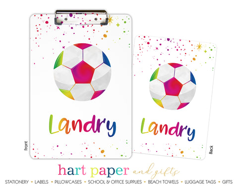 Rainbow Soccer Ball Personalized Clipboard