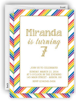 Rainbow Stripes Party Invitation • Baby Shower Birthday • Any Colors