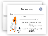 Rocket Ship Thank You Cards Note Card Stationery •  Fill In the Blank Stationery Thank You Cards - Everything Nice