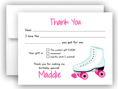 Roller Skate Thank You Cards Note Card Stationery •  Fill In the Blank Stationery Thank You Cards - Everything Nice