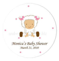 "3"" Round Baby Lamb Favor Labels • Self Adhesive Stickers"