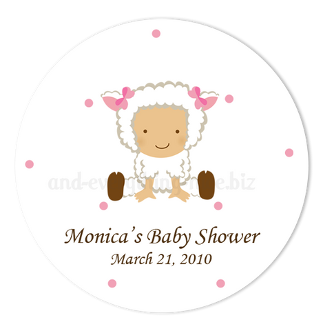 "2"" Round Baby Lamb Sheep Favor Labels  •  Self Adhesive Stickers Round Labels - Everything Nice"