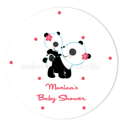 "2"" Round Panda Bear Favor Labels  •  Self Adhesive Stickers Round Labels - Everything Nice"