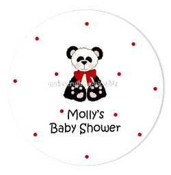 "2"" Round Panda Bear II Favor Labels  •  Self Adhesive Stickers Round Labels - Everything Nice"