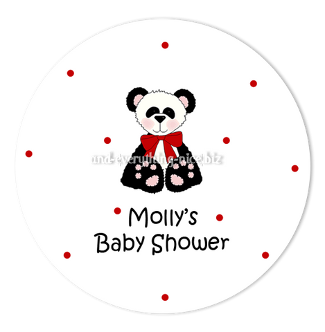 "3"" Round Panda Bear II Favor Labels • Self Adhesive Stickers Round Labels - Everything Nice"