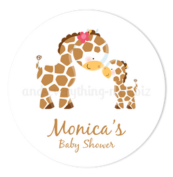 "2"" Round Giraffe Favor Labels  •  Self Adhesive Stickers Round Labels - Everything Nice"
