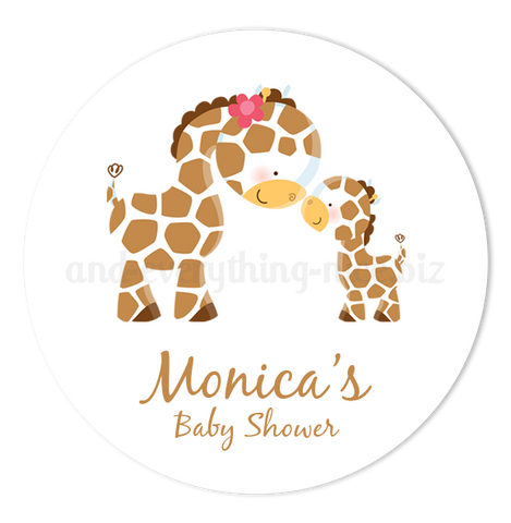 "2"" Round Giraffe Favor Labels  •  Self Adhesive Stickers"