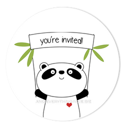 "3"" Round Panda Bear III Favor Labels • Self Adhesive Stickers"