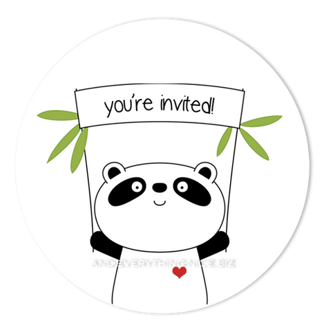 "2"" Round Panda Bear III Favor Labels  •  Self Adhesive Stickers Round Labels - Everything Nice"
