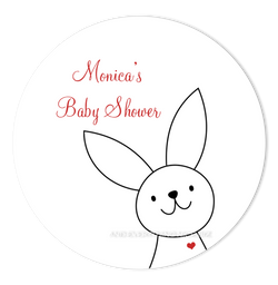 "3"" Round Bunny Rabbit III Favor Labels • Self Adhesive Stickers"