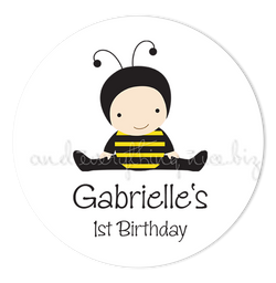 "3"" Round Baby Bumble Bee Favor Labels • Self Adhesive Stickers Round Labels - Everything Nice"