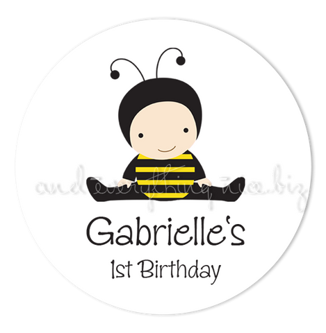 "2"" Round Baby Bumble Bee Favor Labels  •  Self Adhesive Stickers Round Labels - Everything Nice"
