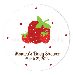 "3"" Round Strawberry Favor Labels • Self Adhesive Stickers"