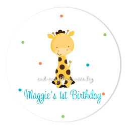 "2"" Round Polka Dot Giraffe Favor Labels  •  Self Adhesive Stickers Round Labels - Everything Nice"