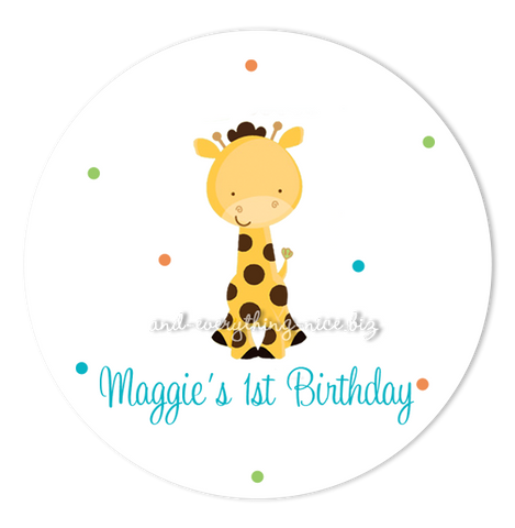 "3"" Round Polka Dot Giraffe Favor Labels • Self Adhesive Stickers"