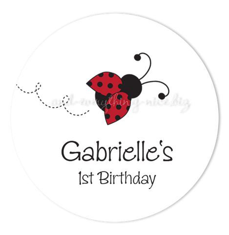 "3"" Round Ladybug Favor Labels • Self Adhesive Stickers Round Labels - Everything Nice"