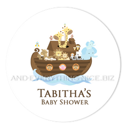 "3"" Round Noah's Ark Favor Labels • Self Adhesive Stickers Round Labels - Everything Nice"