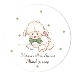 "3"" Round Little Lamb Favor Labels • Self Adhesive Stickers"