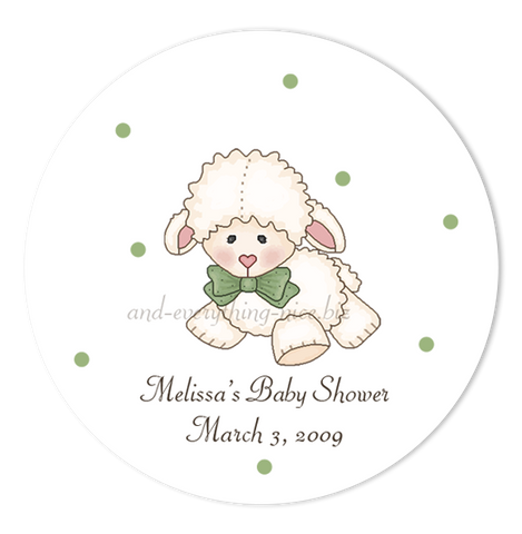 "3"" Round Little Lamb Favor Labels • Self Adhesive Stickers Round Labels - Everything Nice"