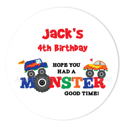 "3"" Round Monster Truck Favor Labels • Self Adhesive Stickers Round Labels - Everything Nice"