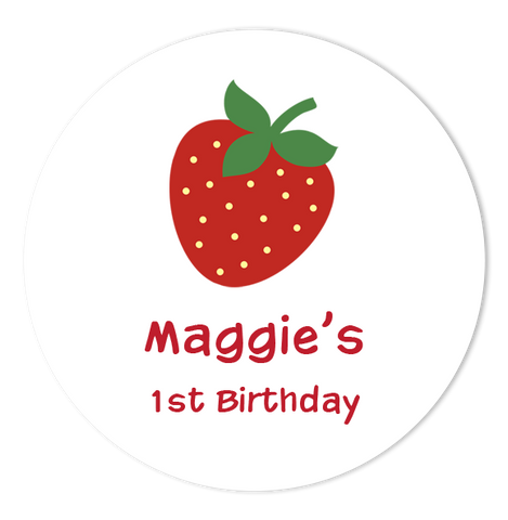 "2"" Round Strawberry Favor Labels  •  Self Adhesive Stickers"