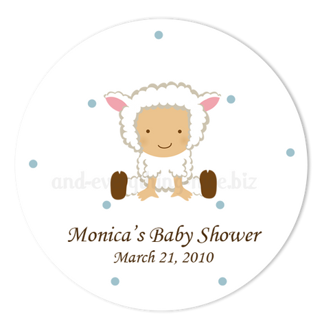 "2"" Round Baby Lamb Sheep Favor Labels  •  Self Adhesive Stickers"
