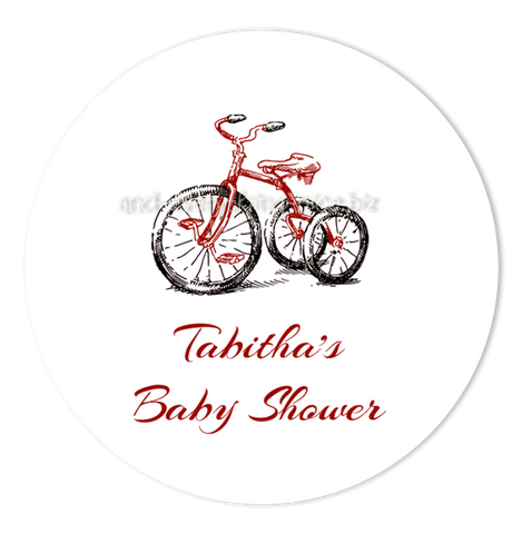 "3"" Round Tricycle Favor Labels • Self Adhesive Stickers Round Labels - Everything Nice"