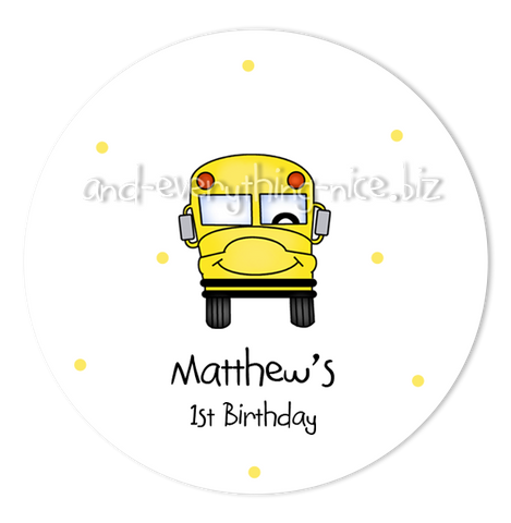 "3"" Round School Bus Favor Labels • Self Adhesive Stickers"