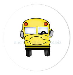 "3"" Round School Bus Favor Labels • Self Adhesive Stickers Round Labels - Everything Nice"