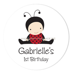 "3"" Round Baby Ladybug Favor Labels • Self Adhesive Stickers Round Labels - Everything Nice"