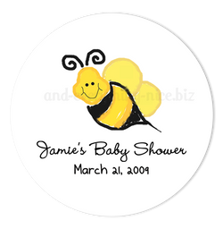 "2"" Round Bumble Bee III Favor Labels  •  Self Adhesive Stickers Round Labels - Everything Nice"
