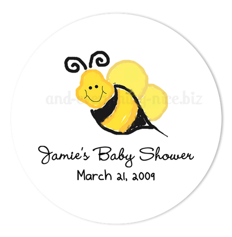 "2"" Round Bumble Bee III Favor Labels  •  Self Adhesive Stickers"