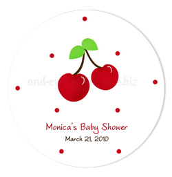 "2"" Round Cherry Favor Labels  •  Self Adhesive Stickers Round Labels - Everything Nice"