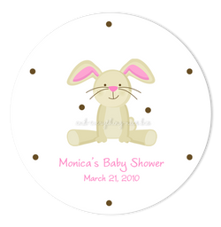 "3"" Round Bunny Rabbit II Favor Labels • Self Adhesive Stickers"