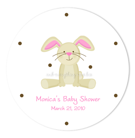 "2"" Round Bunny Rabbit II Favor Labels  •  Self Adhesive Stickers Round Labels - Everything Nice"