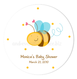 "3"" Round Cute Bumble Bee Favor Labels • Self Adhesive Stickers"