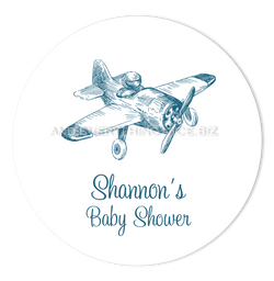"2"" Round Vintage Airplane Favor Labels  •  Self Adhesive Stickers Round Labels - Everything Nice"