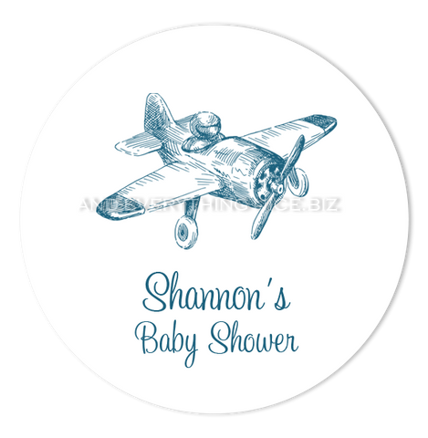 "2"" Round Vintage Airplane Favor Labels  •  Self Adhesive Stickers"