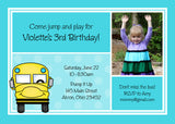 School Bus Photo Birthday Party Invitation • Any Colors Kids Photo Birthday Invitations - Everything Nice