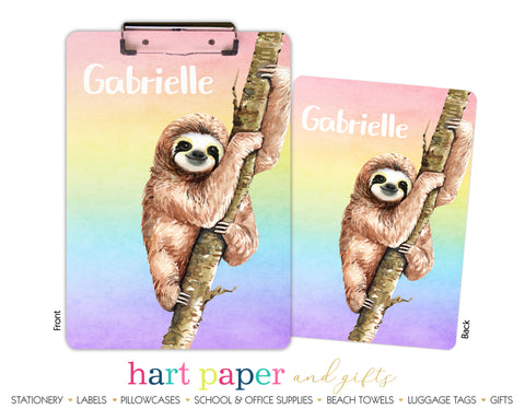 Rainbow Sloth Personalized Clipboard School & Office Supplies - Everything Nice