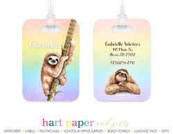 Sloth Rainbow Luggage Bag Tag