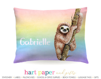 Rainbow Sloth Personalized Pillowcase Pillowcases - Everything Nice