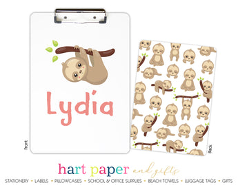 Sloth Personalized Clipboard School & Office Supplies - Everything Nice