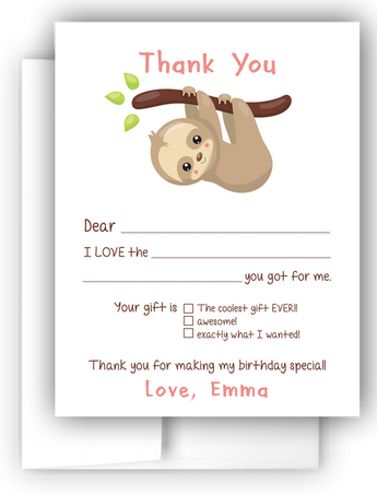 Sloth Thank You Cards Note Card Stationery •  Fill In the Blank Stationery Thank You Cards - Everything Nice