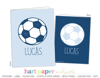 Blue Soccer Ball Personalized 2-Pocket Folder School & Office Supplies - Everything Nice