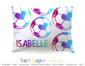 Rainbow Heart Soccer Ball Personalized Pillowcase Pillowcases - Everything Nice