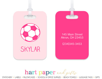 Pink Soccer Ball Luggage Bag Tag School & Office Supplies - Everything Nice