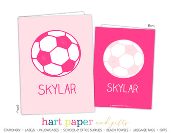 Pink Soccer Ball Personalized 2-Pocket Folder School & Office Supplies - Everything Nice